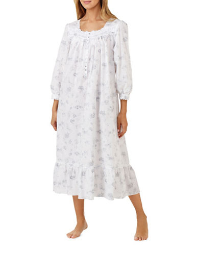 Eileen West Ballet Cotton Nightgown-GREY-Medium