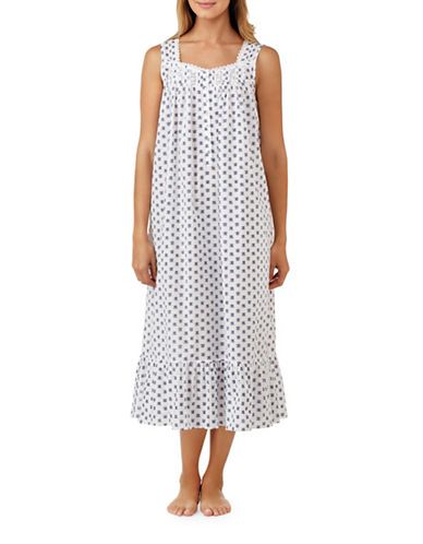 Eileen West Gentle Sweetheart Lawn Ballet Cotton Nightgown-BLUE-Small