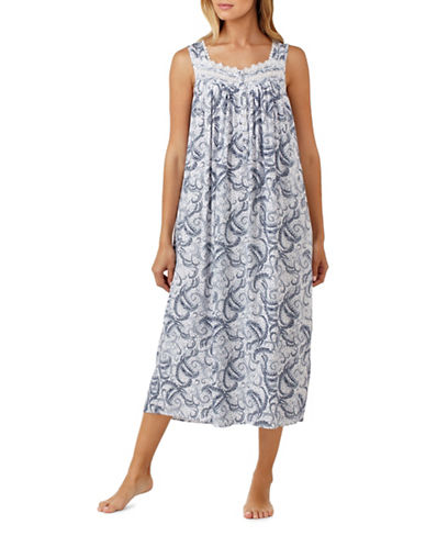 Eileen West Paisley Ballet Night Gown-BLUE-Small