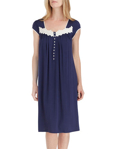 Eileen West Lace Waltz Night Gown-BLUE-Medium