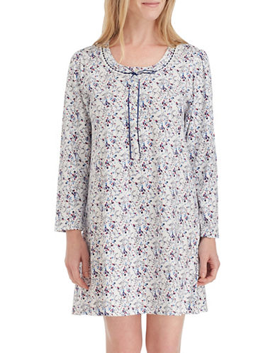 Eileen West Floral Cotton Sleepshirt-ASSORTED-X-Large