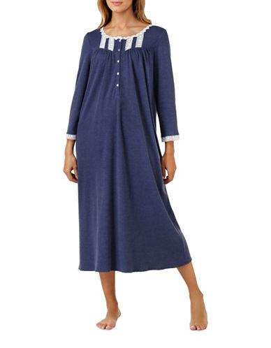 Eileen West Interlock Ballet Night Gown-BLUE-Medium