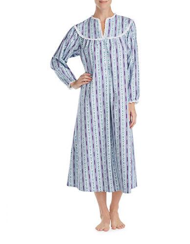 Lanz Of Salsburg Ballet Long Sleeve Cotton Sleepwear Gown-PURPLE MULTI-Medium