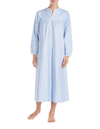 Lanz Of Salsburg Ballet Long Sleeve Cotton Sleepwear Gown-BLUE-Medium