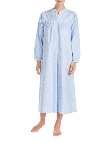Lanz Of Salsburg Ballet Long Sleeve Cotton Sleepwear Gown-BLUE-Large