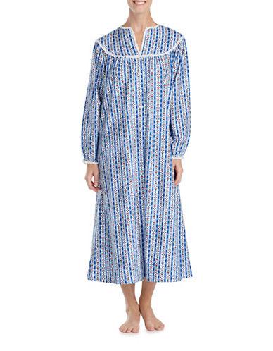 Lanz Of Salsburg Ballet Long Sleeve Cotton Sleepwear Gown-BLUE STRIP-Medium