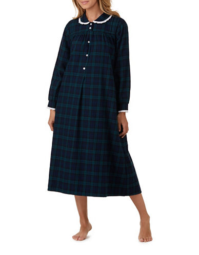Lanz Of Salsburg Ballet Cherry Cotton Sleepwear Gown-NAVY PLAID-Large