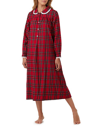 Lanz Of Salsburg Ballet Cherry Cotton Sleepwear Gown-RED PLAID-Small