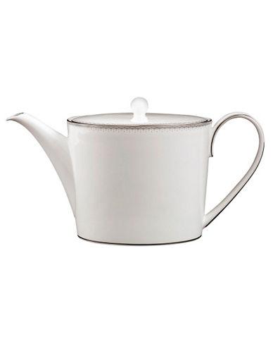 Monique Lhuillier Waterford Dentelle Teapot-WHITE WITH PLATINUM TRIM-One Size