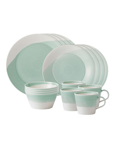 Royal Doulton 1815 16 Piece Place Setting Green-GREEN-One Size