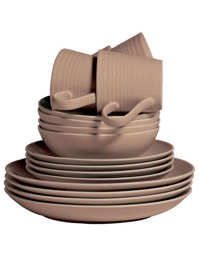 Gordon Ramsay Maze 16 Piece Taupe Dinnerware Set-TAUPE-One Size