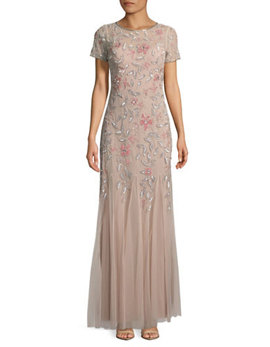 Adrianna Papell Floral Mermaid Floor-Length Gown-BLUSH-4