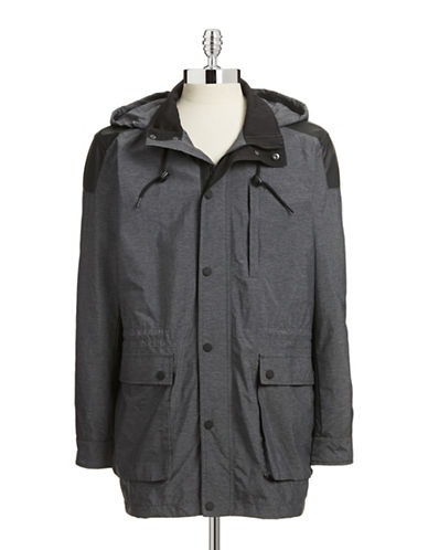 Dkny Jeans Melange Jacket with Faux Leather-GREY-Medium