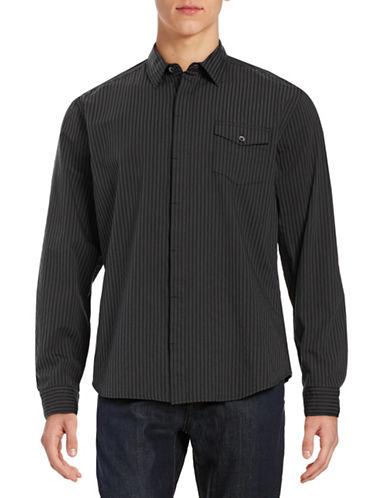 Dkny Jeans Dobby Striped Sport Shirt-BLACK-Medium 88013094_BLACK_Medium
