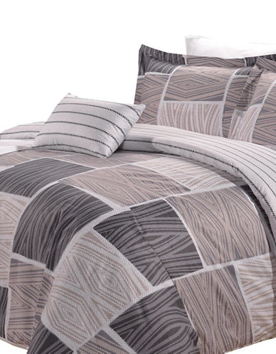 North Home Eight-Piece Zigzag Duvet Cover and Sheet Set-BROWN-King