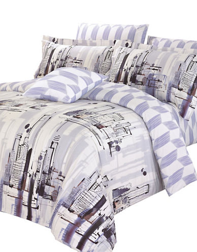 North Home Metro Four-Piece Duvet Cover Set-PURPLE-Twin