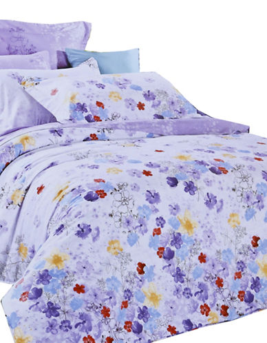 North Home Pansy Cotton Four-Piece Duvet Cover Set-PURPLE-Queen