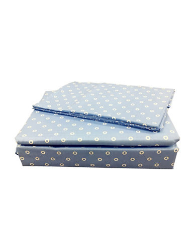 North Home 220 Thread Count Four-Piece Polka-Dot Cotton Sheet Set-BLUE-Queen