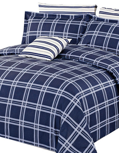 North Home Four-Piece Steward Duvet Cover Set-NAVY-King