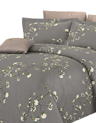 North Home Four-Piece Trellis Duvet Cover Set-GREY-King