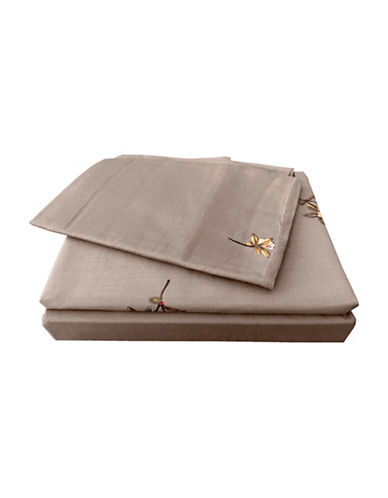 North Home Trellis Cotton Four-Piece Sheet Set-BROWN-Queen