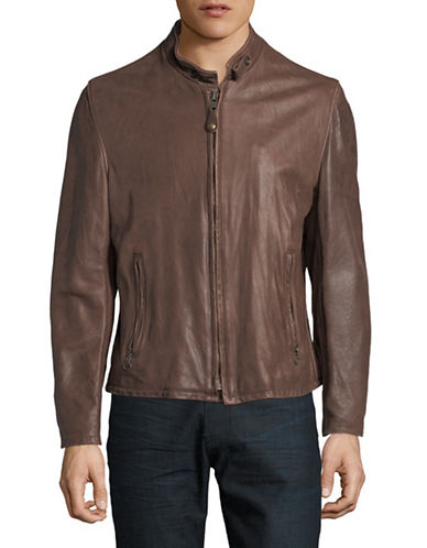 Schott Nyc Vintage Leather Cafe Racer Jacket-BROWN-X-Large 89947172_BROWN_X-Large