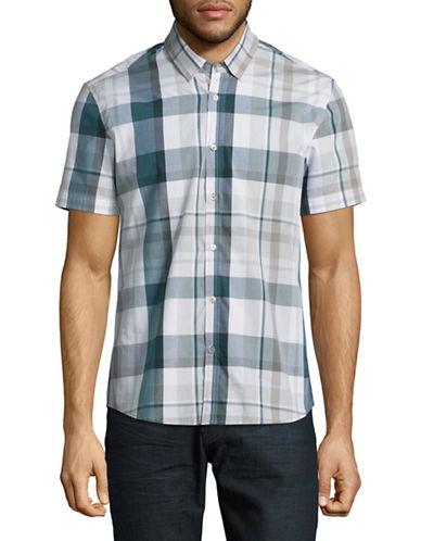 7 Diamonds Plaid Sport Shirt-GREEN-Large