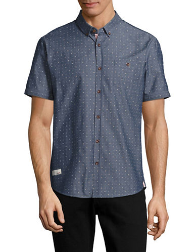 7 Diamonds Into the Blue Dotted Shirt-NAVY-Small