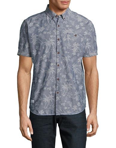 7 Diamonds Tropical Print Sport Shirt-BLUE-Small