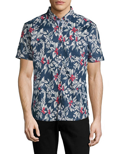 7 Diamonds Ignition Floral Sport Shirt-NAVY-Small