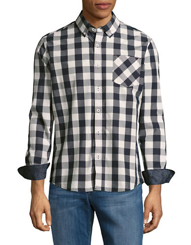 7 Diamonds Gingham Sport Shirt-BLUE-Large