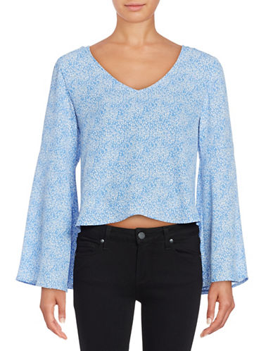 Design Lab Lord & Taylor Printed Cropped Top-BLUE-X-Small