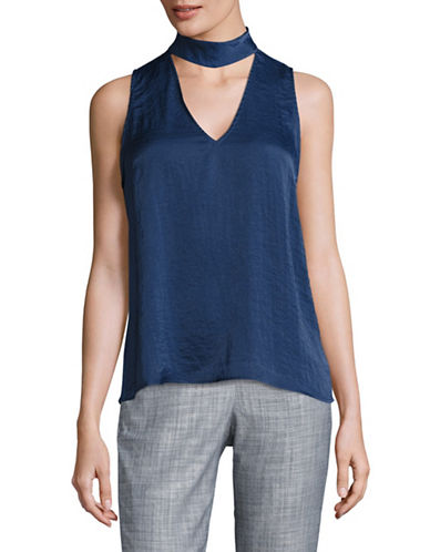 Design Lab Lord & Taylor Solid Sleeveless Choker Top-BLUE-Large 89122042_BLUE_Large