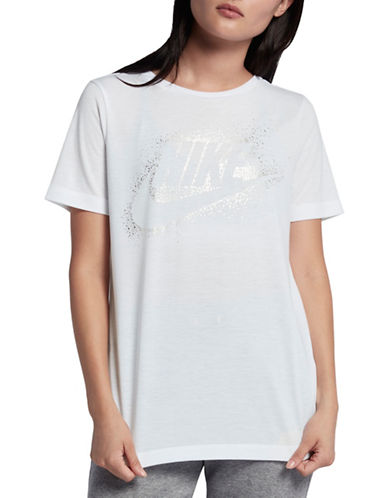 Nike Metallic Essentials Logo Top-WHITE-Small