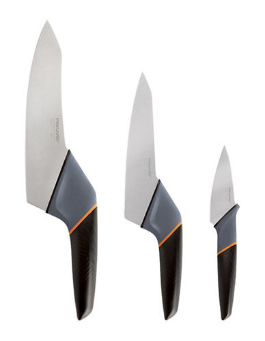 Fiskars Three-Piece Stainless Steel Summit Knives-BLACK-One Size