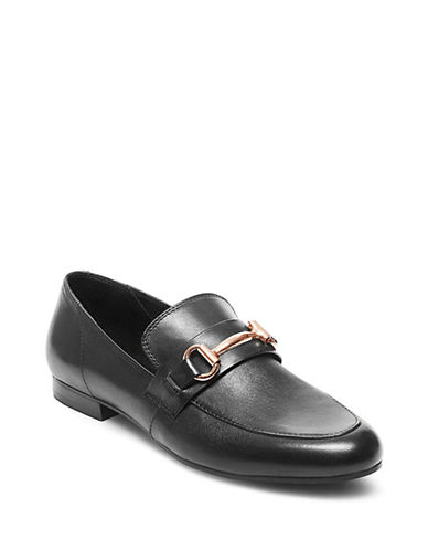 Steve Madden Womens Kerry Almond Toe Leather Loafers-BLACK-9.5