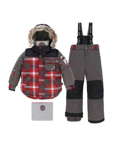 Deux Par Deux Two-Piece Lumberjack Snow Suit-GREY/RED-3
