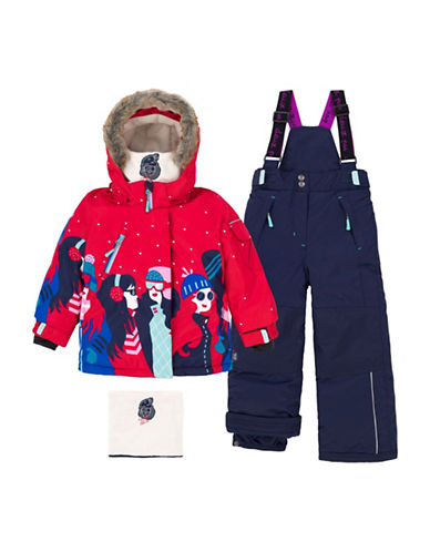 Deux Par Deux Two-Piece Retro Alpine Faux Fur-Trimmed Snowsuit-RED-5