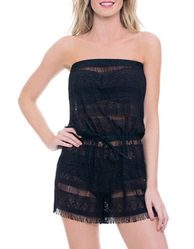 Blush By Gottex Taboo Romper Swim Cover Up-BLACK-Small plus size,  plus size fashion plus size appare