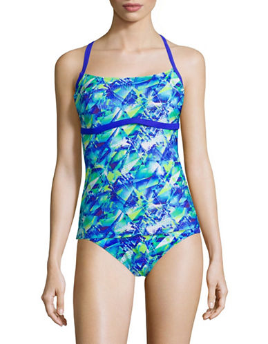 Profile By Gottex Pacific Blue D-Cup Tankini Swim Top-MULTI BLUE-34D