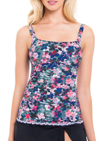 Profile By Gottex Romeo and Juliette Floral Print Tankini Top-MULTICOLORED-32D