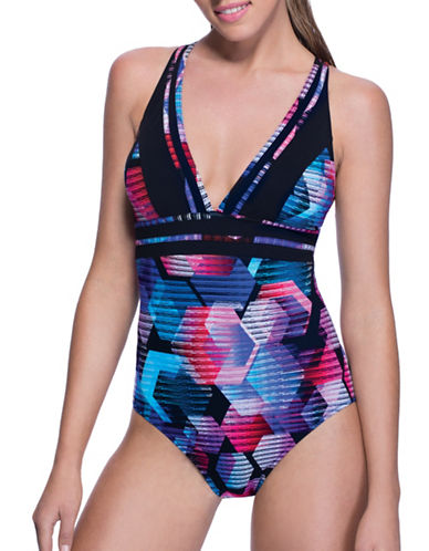 Profile By Gottex One-Piece V-Neck Swimsuit-MULTI-10