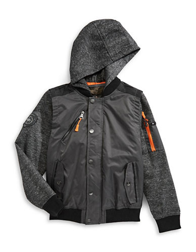 Urban Republic Hooded Snap Jacket-BLACK-4