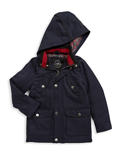 Urban Republic Hooded Mixed Media Bomber Jacket-BLUE-2