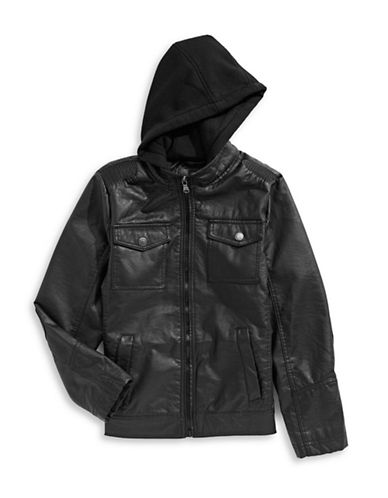 Urban Republic Hooded Full-Zip Jacket-BLACK-10-12