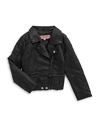 Urban Republic Faux Leather Moto Jacket-BLACK-6X