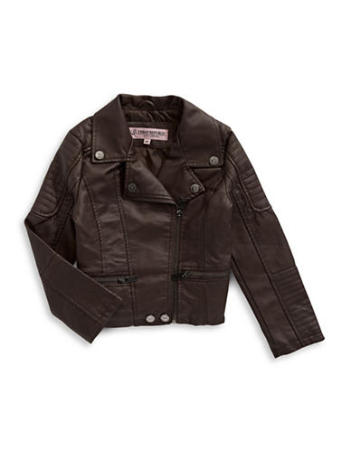 Urban Republic Faux Leather Moto Jacket-BROWN-2