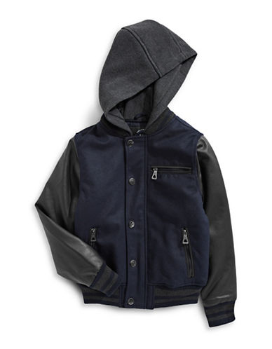 Urban Republic Mixed Fabric Bomber Jacket with Hood-BLUE-10-12