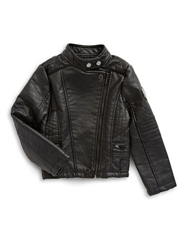 Urban Republic Asymmetric Zip Biker Jacket-BLACK-2