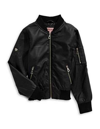 Urban Republic Faux Leather Bomber Jacket-BLACK-14
